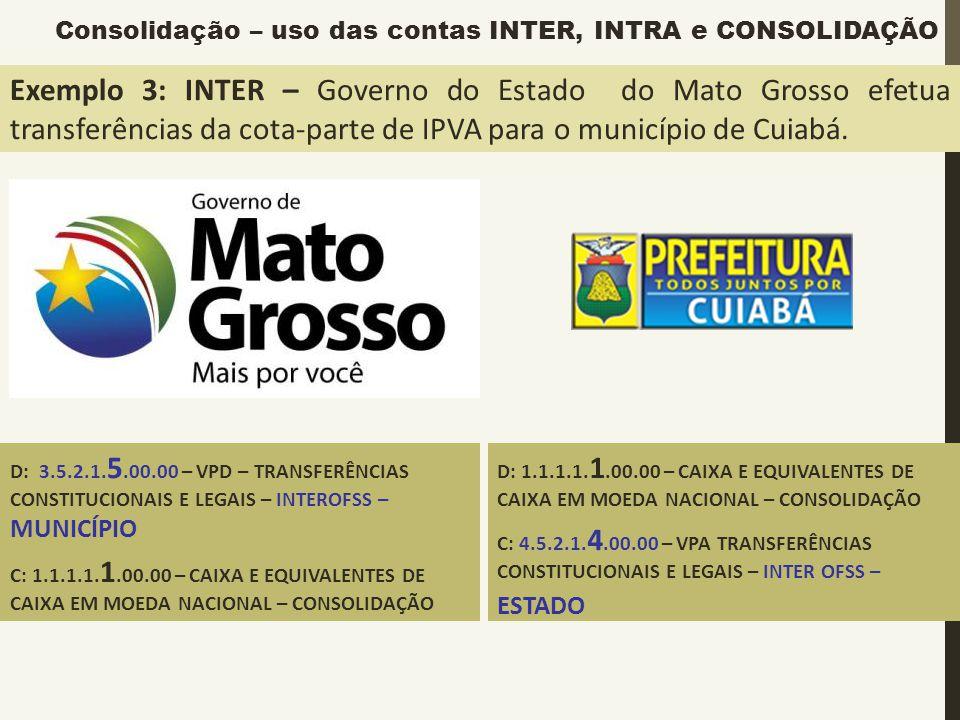 Exemplo 3: INTER – Governo do Estado do Mato Grosso efetua transferências da cota-parte de IPVA para o município de Cuiabá. D: 3.5.2.1. 5.00.00 – VPD