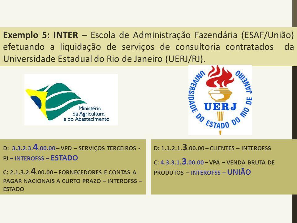 USO DAS CONTAS EXTRA, INTER E INTRA OFSS Exemplo 5: INTER – Escola de Administração Fazendária (ESAF/União) efetuando a liquidação de serviços de cons