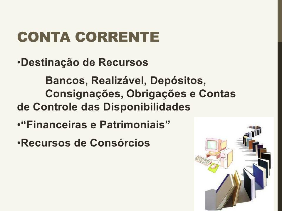 """CONTA CORRENTE Destinação de Recursos Bancos, Realizável, Depósitos, Consignações, Obrigações e Contas de Controle das Disponibilidades """"Financeiras e"""