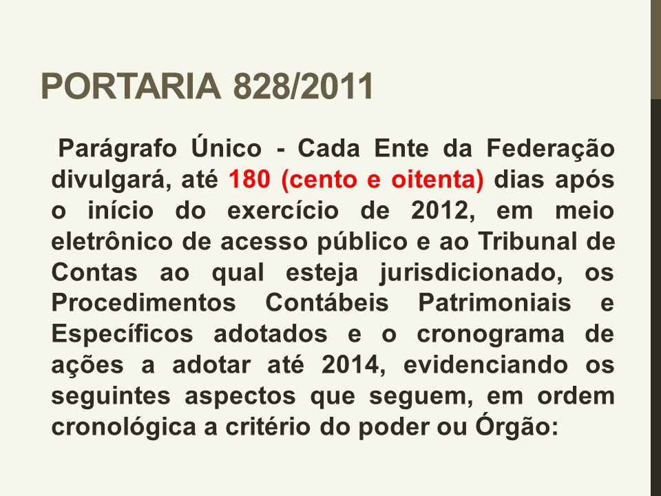 PORTARIA 828/2011 Parágrafo Único - Cada Ente da Federação divulgará, até 180 (cento e oitenta) dias após o início do exercício de 2012, em meio eletr