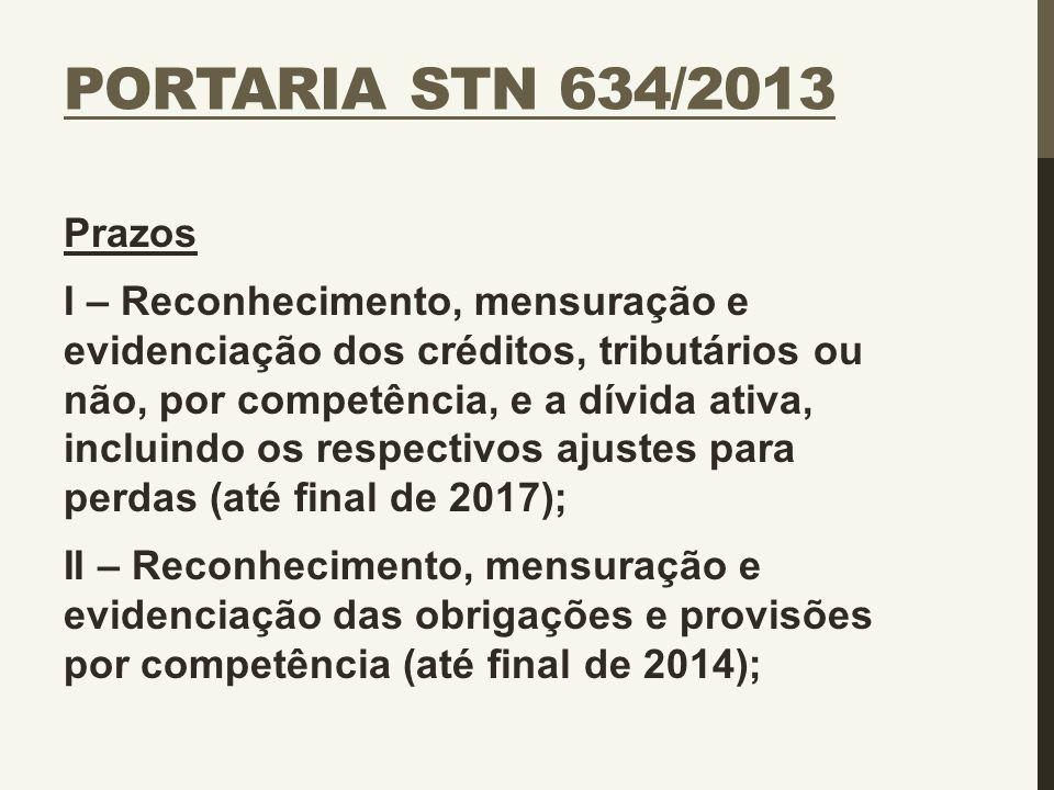 PORTARIA STN 634/2013 Prazos I – Reconhecimento, mensuração e evidenciação dos créditos, tributários ou não, por competência, e a dívida ativa, inclui