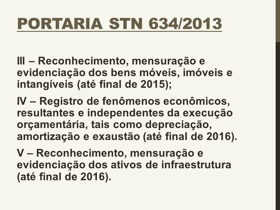PORTARIA STN 634/2013 III – Reconhecimento, mensuração e evidenciação dos bens móveis, imóveis e intangíveis (até final de 2015); IV – Registro de fen