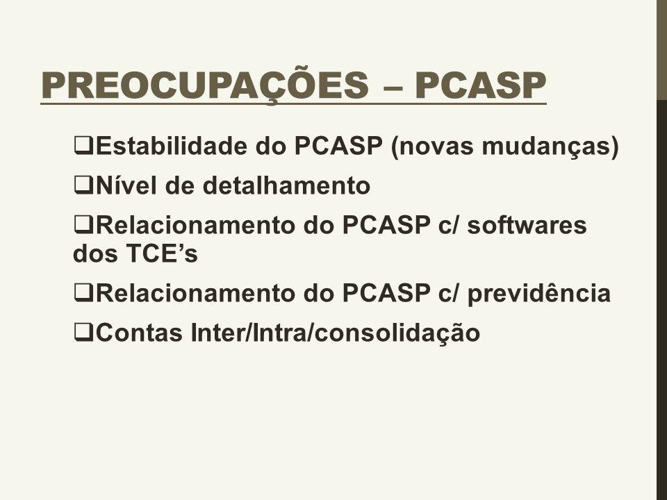 PREOCUPAÇÕES – PCASP  Estabilidade do PCASP (novas mudanças)  Nível de detalhamento  Relacionamento do PCASP c/ softwares dos TCE's  Relacionament