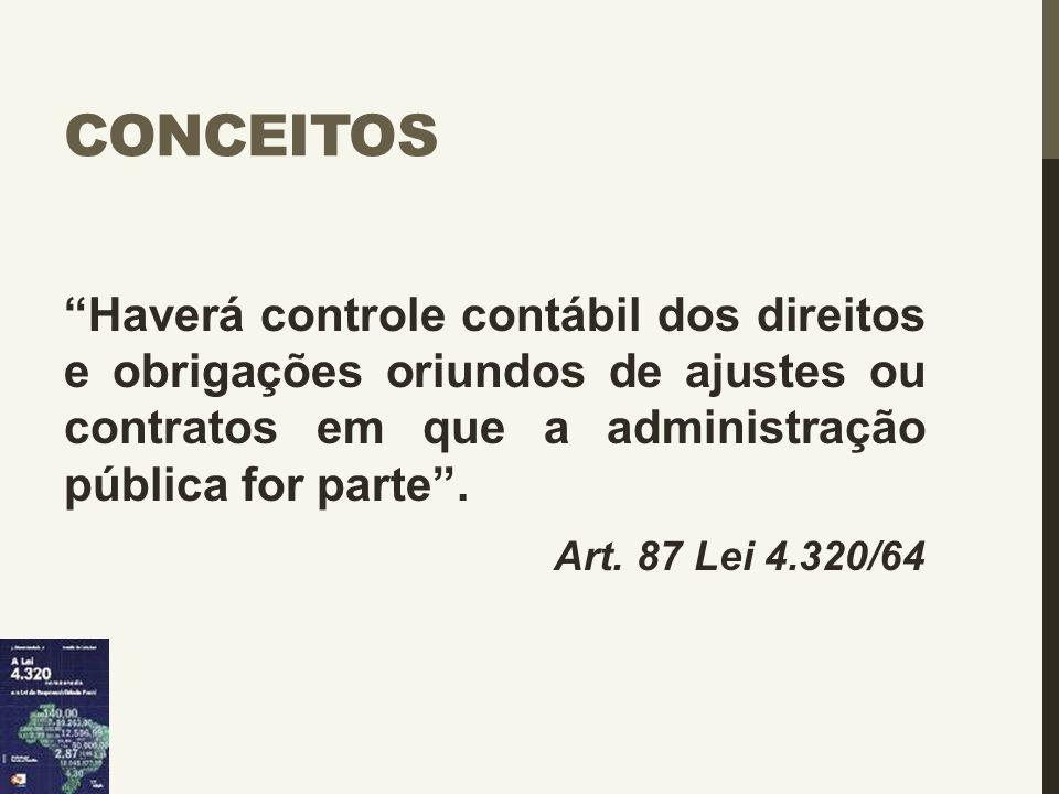 """CONCEITOS """"Haverá controle contábil dos direitos e obrigações oriundos de ajustes ou contratos em que a administração pública for parte"""". Art. 87 Lei"""