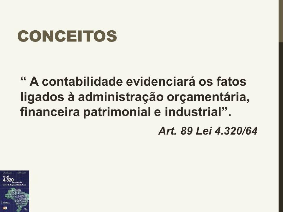 """CONCEITOS """" A contabilidade evidenciará os fatos ligados à administração orçamentária, financeira patrimonial e industrial"""". Art. 89 Lei 4.320/64"""