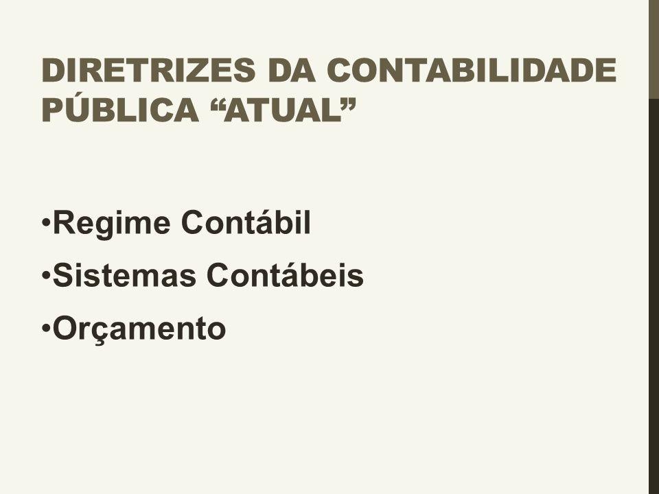"""DIRETRIZES DA CONTABILIDADE PÚBLICA """"ATUAL"""" Regime Contábil Sistemas Contábeis Orçamento"""