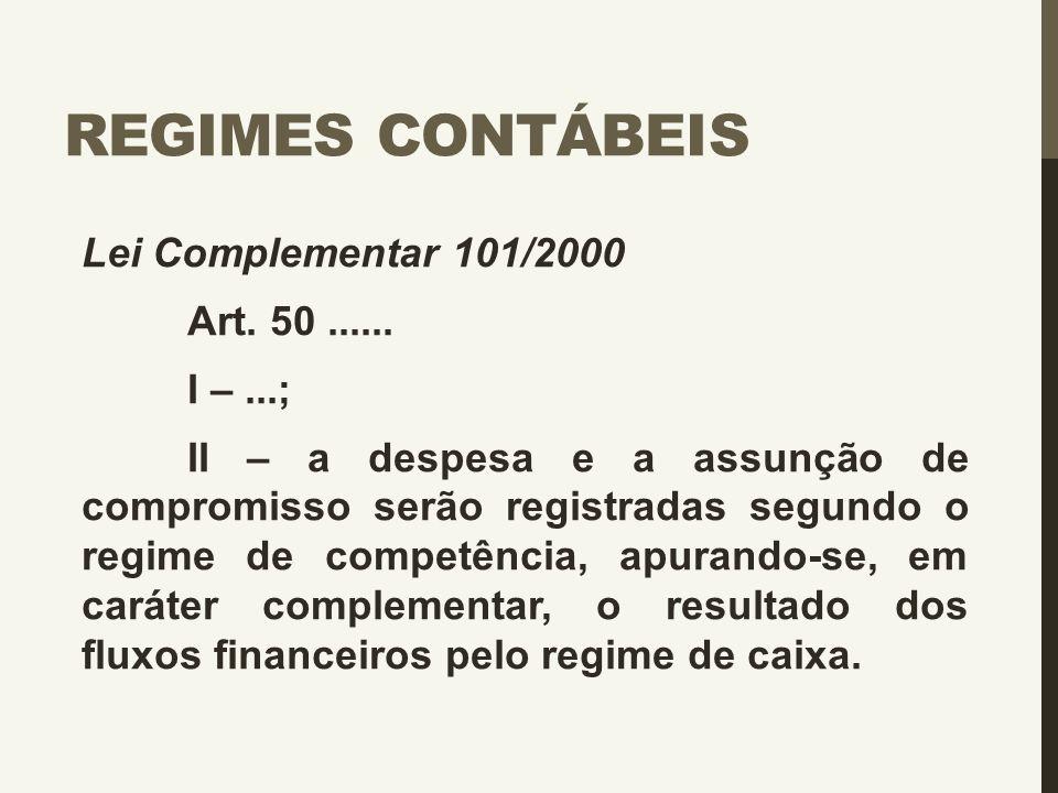 REGIMES CONTÁBEIS Lei Complementar 101/2000 Art. 50...... I –...; II – a despesa e a assunção de compromisso serão registradas segundo o regime de com