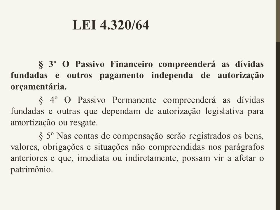 § 3º O Passivo Financeiro compreenderá as dívidas fundadas e outros pagamento independa de autorização orçamentária. § 4º O Passivo Permanente compree