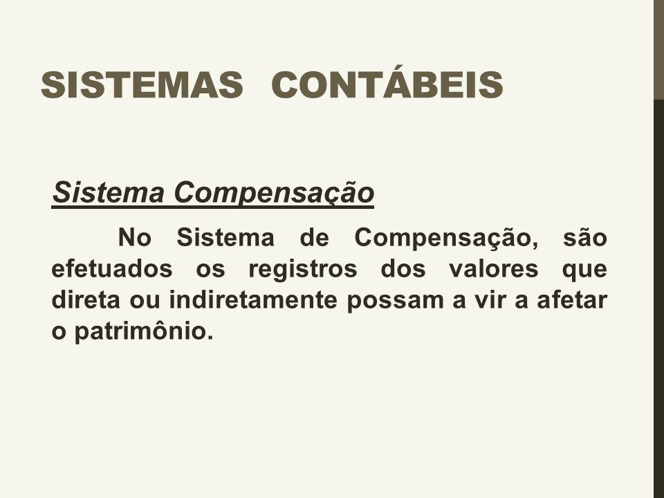 SISTEMAS CONTÁBEIS Sistema Compensação No Sistema de Compensação, são efetuados os registros dos valores que direta ou indiretamente possam a vir a af