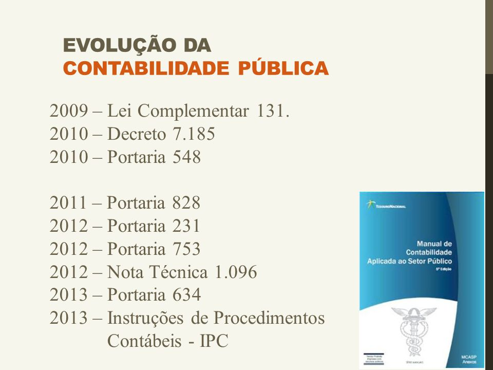 EVOLUÇÃO DA CONTABILIDADE PÚBLICA 2009 – Lei Complementar 131. 2010 – Decreto 7.185 2010 – Portaria 548 2011 – Portaria 828 2012 – Portaria 231 2012 –
