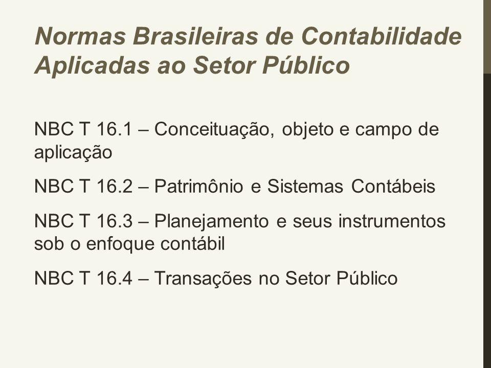 Normas Brasileiras de Contabilidade Aplicadas ao Setor Público NBC T 16.1 – Conceituação, objeto e campo de aplicação NBC T 16.2 – Patrimônio e Sistem