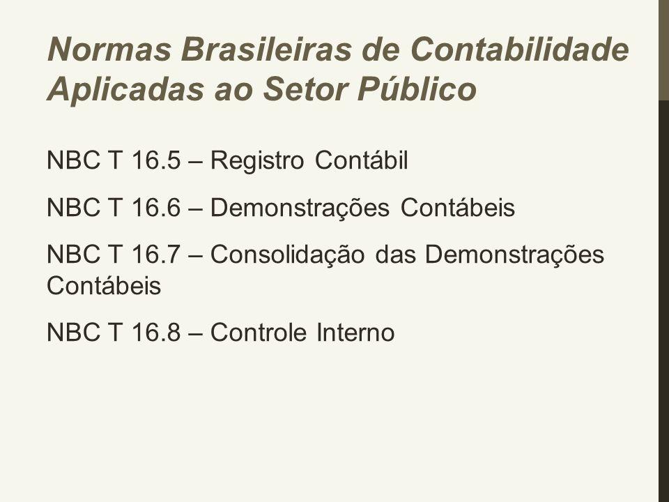 NBC T 16.5 – Registro Contábil NBC T 16.6 – Demonstrações Contábeis NBC T 16.7 – Consolidação das Demonstrações Contábeis NBC T 16.8 – Controle Intern