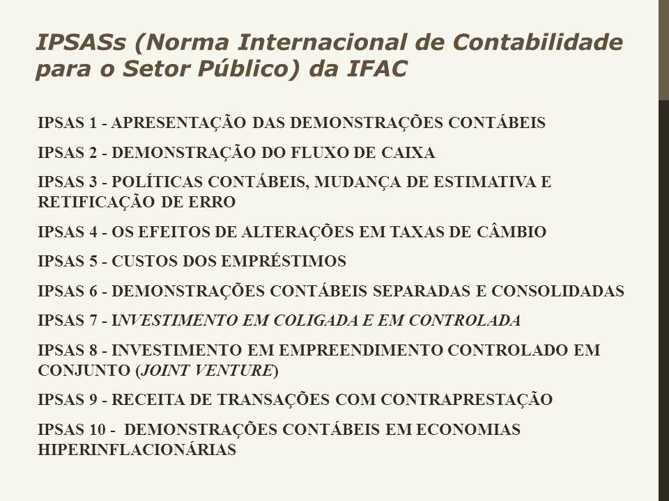 IPSAS 1 - APRESENTAÇÃO DAS DEMONSTRAÇÕES CONTÁBEIS IPSAS 2 - DEMONSTRAÇÃO DO FLUXO DE CAIXA IPSAS 3 - POLÍTICAS CONTÁBEIS, MUDANÇA DE ESTIMATIVA E RET