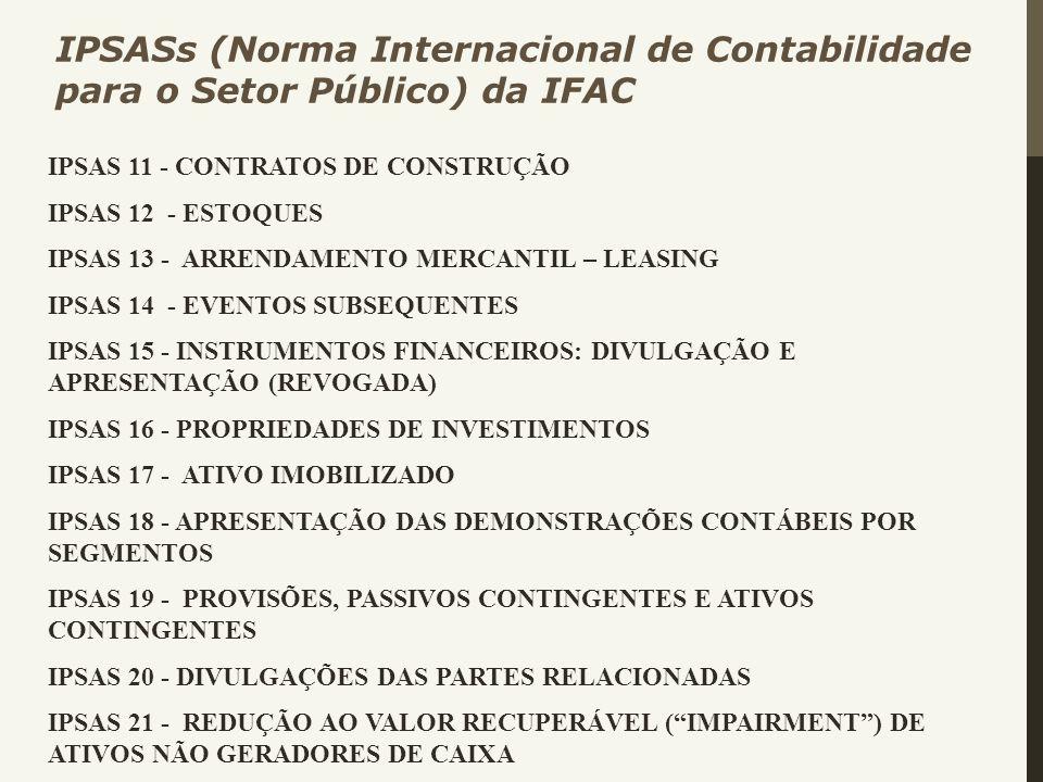 IPSAS 11 - CONTRATOS DE CONSTRUÇÃO IPSAS 12 - ESTOQUES IPSAS 13 - ARRENDAMENTO MERCANTIL – LEASING IPSAS 14 - EVENTOS SUBSEQUENTES IPSAS 15 - INSTRUME