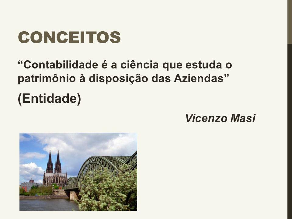 """CONCEITOS """"Contabilidade é a ciência que estuda o patrimônio à disposição das Aziendas"""" (Entidade) Vicenzo Masi"""