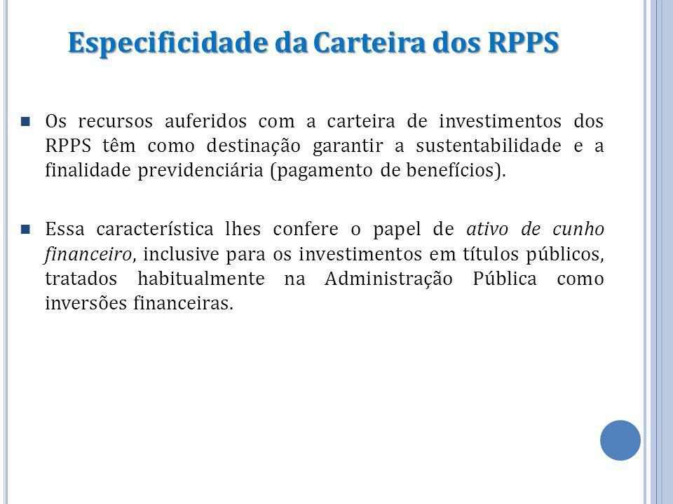 Especificidade da Carteira dos RPPS Os recursos auferidos com a carteira de investimentos dos RPPS têm como destinação garantir a sustentabilidade e a