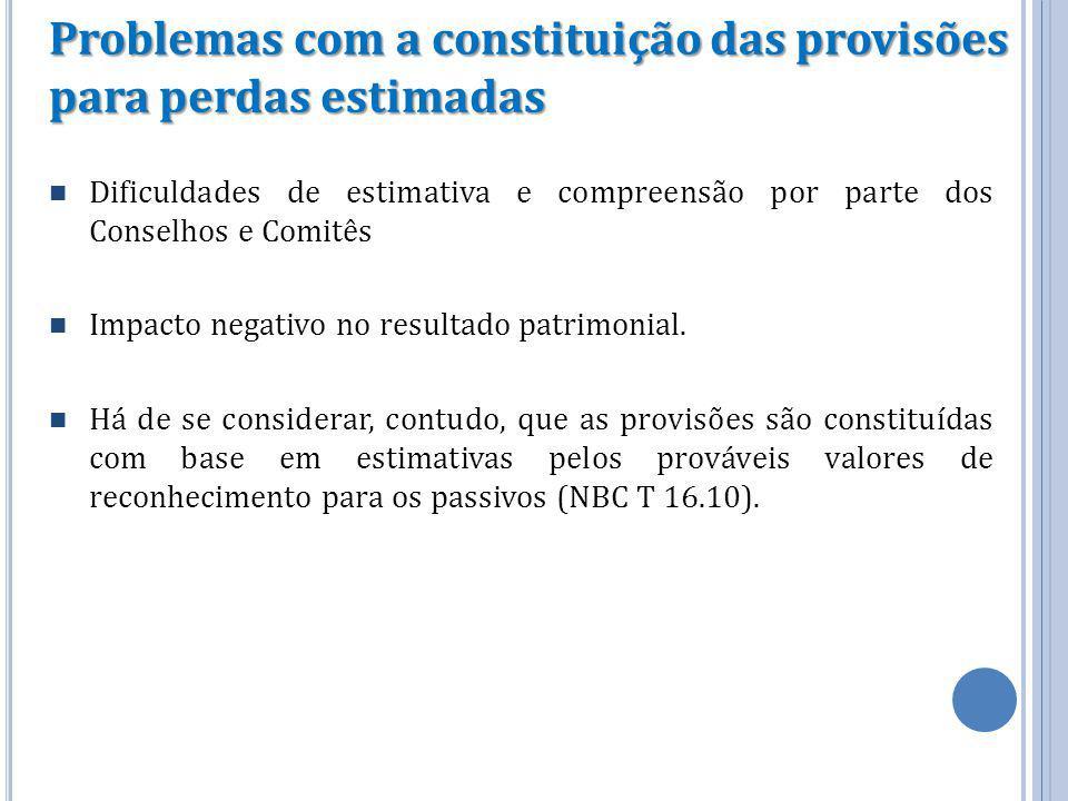 Problemas com a constituição das provisões para perdas estimadas Dificuldades de estimativa e compreensão por parte dos Conselhos e Comitês Impacto ne