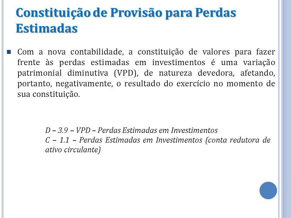 Constituição de Provisão para Perdas Estimadas Com a nova contabilidade, a constituição de valores para fazer frente às perdas estimadas em investimen