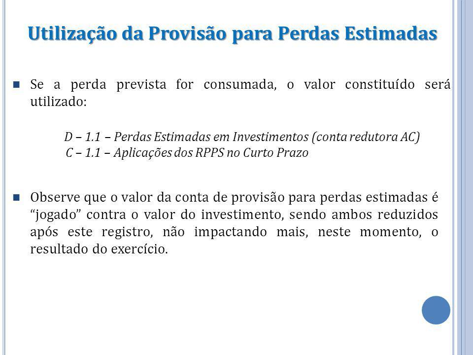 Utilização da Provisão para Perdas Estimadas Se a perda prevista for consumada, o valor constituído será utilizado: D – 1.1 – Perdas Estimadas em Inve