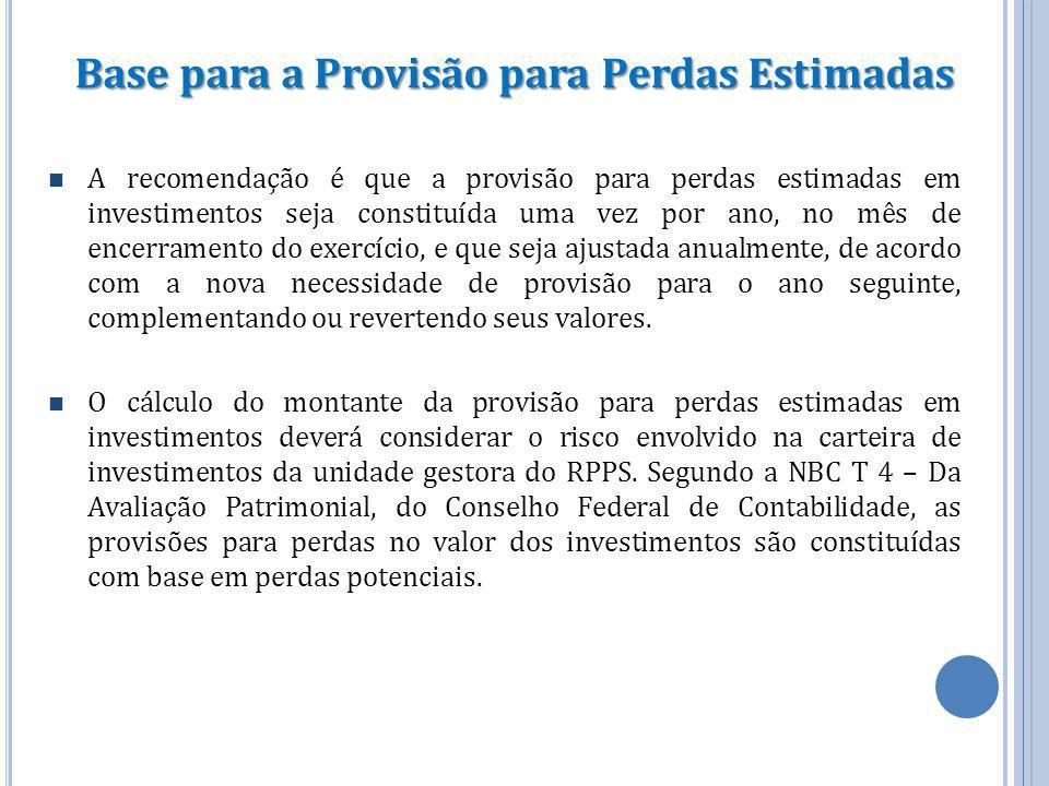 Base para a Provisão para Perdas Estimadas A recomendação é que a provisão para perdas estimadas em investimentos seja constituída uma vez por ano, no