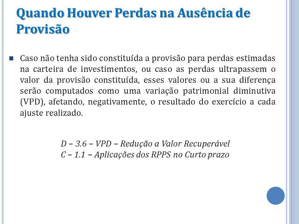 Quando Houver Perdas na Ausência de Provisão Caso não tenha sido constituída a provisão para perdas estimadas na carteira de investimentos, ou caso as