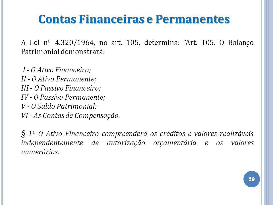 """29 Contas Financeiras e Permanentes A Lei nº 4.320/1964, no art. 105, determina: """"Art. 105. O Balanço Patrimonial demonstrará: I - O Ativo Financeiro;"""