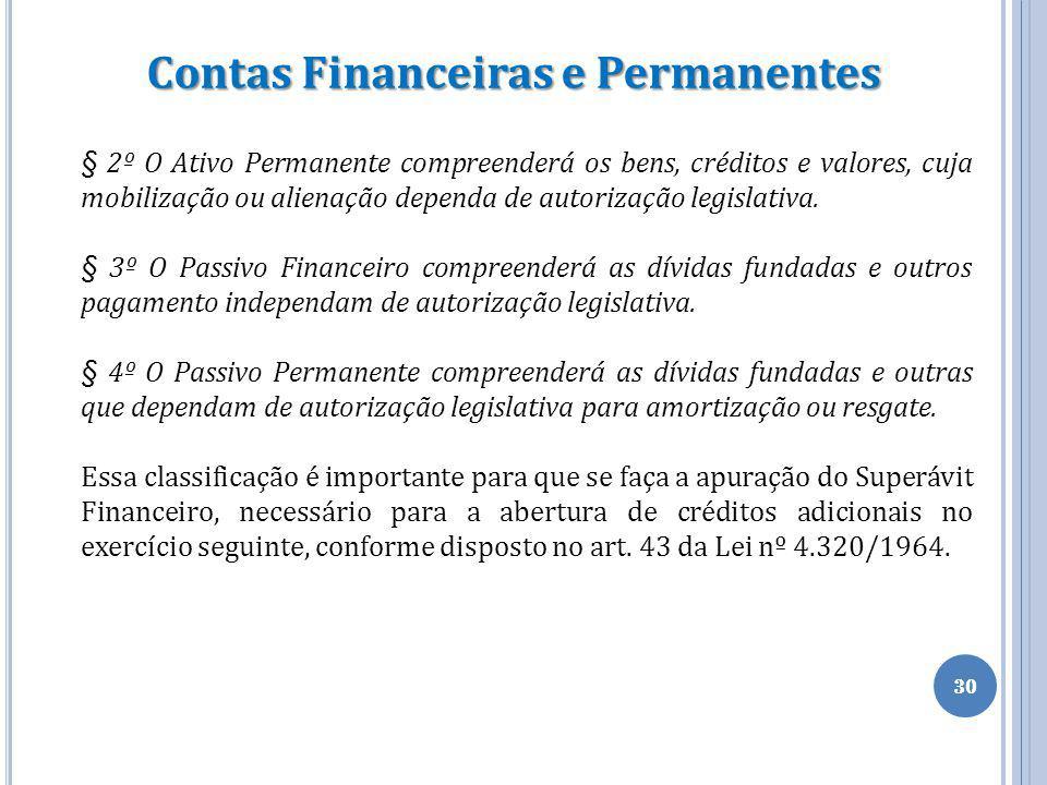 30 Contas Financeiras e Permanentes § 2º O Ativo Permanente compreenderá os bens, créditos e valores, cuja mobilização ou alienação dependa de autoriz