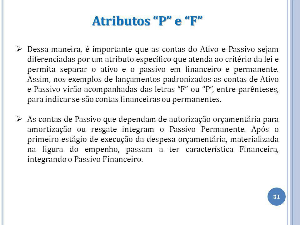 """31 Atributos """"P"""" e """"F""""  Dessa maneira, é importante que as contas do Ativo e Passivo sejam diferenciadas por um atributo específico que atenda ao cri"""