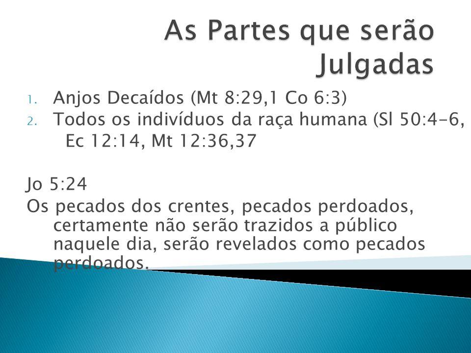 1. Anjos Decaídos (Mt 8:29,1 Co 6:3) 2. Todos os indivíduos da raça humana (Sl 50:4-6, Ec 12:14, Mt 12:36,37 Jo 5:24 Os pecados dos crentes, pecados p