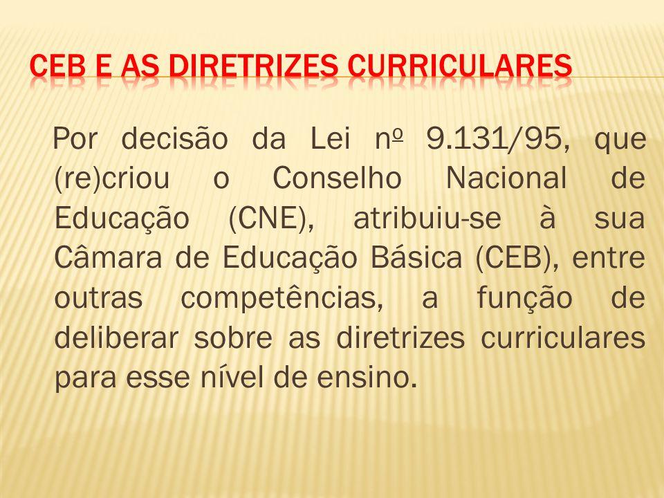 Por decisão da Lei n o 9.131/95, que (re)criou o Conselho Nacional de Educação (CNE), atribuiu-se à sua Câmara de Educação Básica (CEB), entre outras competências, a função de deliberar sobre as diretrizes curriculares para esse nível de ensino.
