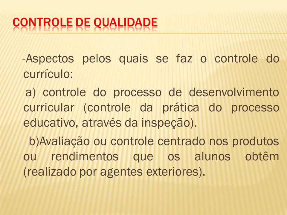 -Aspectos pelos quais se faz o controle do currículo: a) controle do processo de desenvolvimento curricular (controle da prática do processo educativo, através da inspeção).