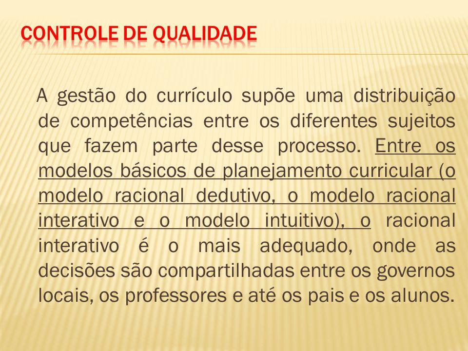 A gestão do currículo supõe uma distribuição de competências entre os diferentes sujeitos que fazem parte desse processo.