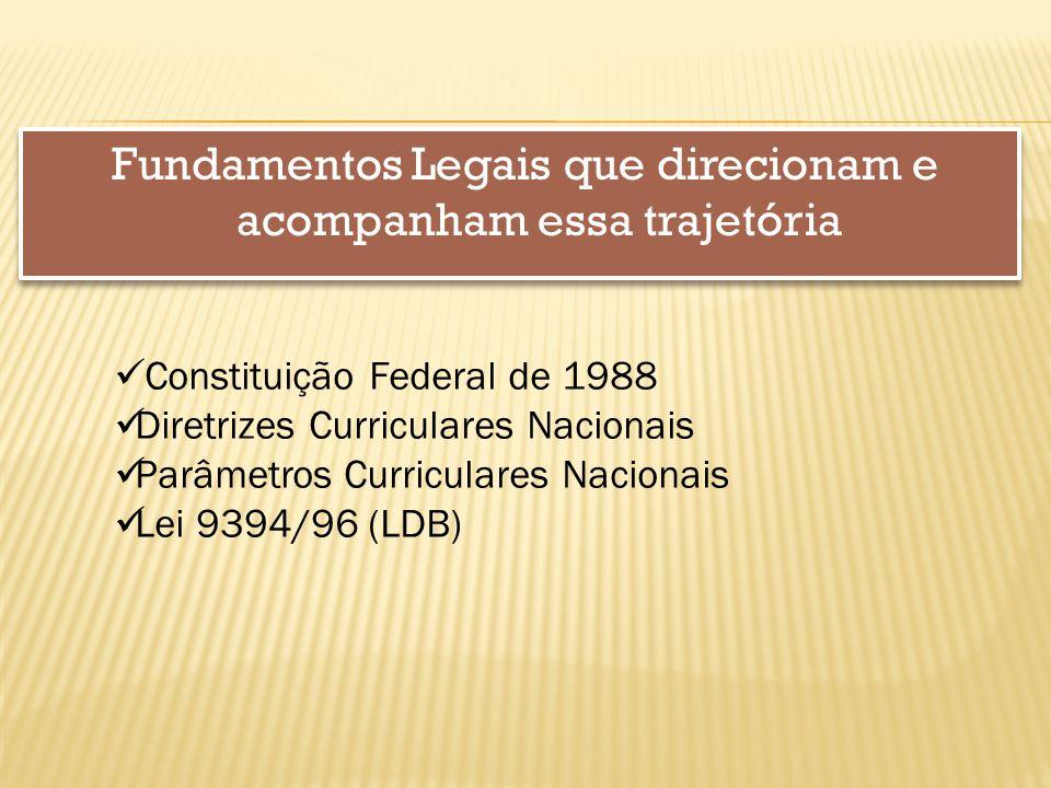 Fundamentos Legais que direcionam e acompanham essa trajetória Constituição Federal de 1988 Diretrizes Curriculares Nacionais Parâmetros Curriculares Nacionais Lei 9394/96 (LDB)