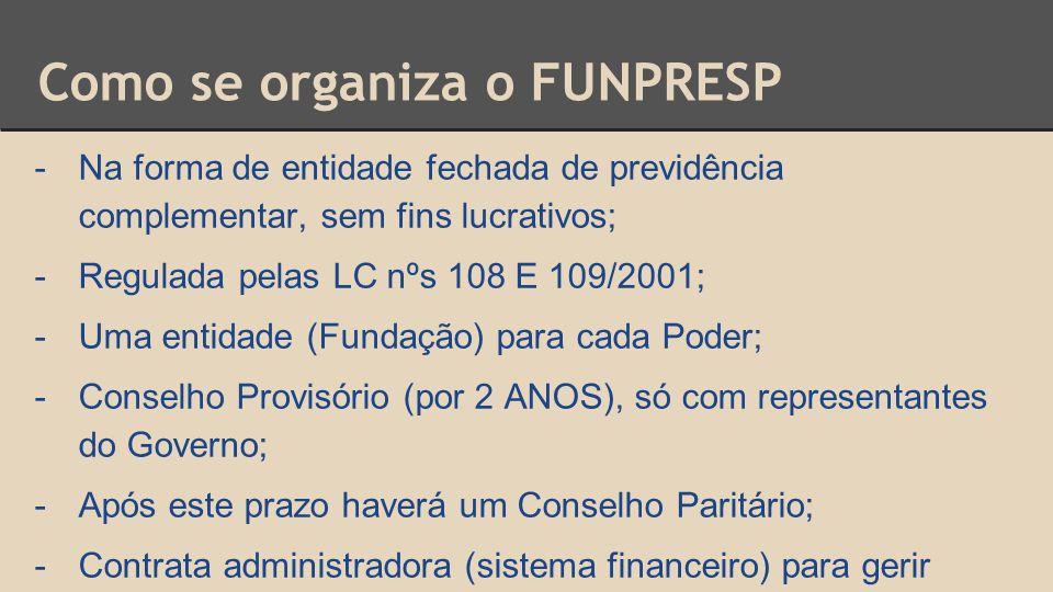 Como se organiza o FUNPRESP -Na forma de entidade fechada de previdência complementar, sem fins lucrativos; -Regulada pelas LC nºs 108 E 109/2001; -Um