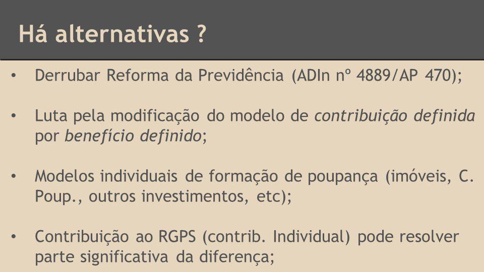 Há alternativas ? Derrubar Reforma da Previdência (ADIn nº 4889/AP 470); Luta pela modificação do modelo de contribuição definida por benefício defini
