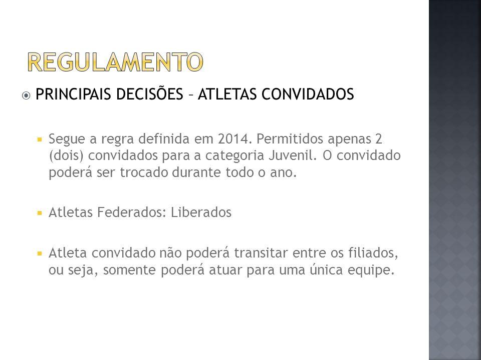  PRINCIPAIS DECISÕES – ATLETAS CONVIDADOS  Segue a regra definida em 2014. Permitidos apenas 2 (dois) convidados para a categoria Juvenil. O convida
