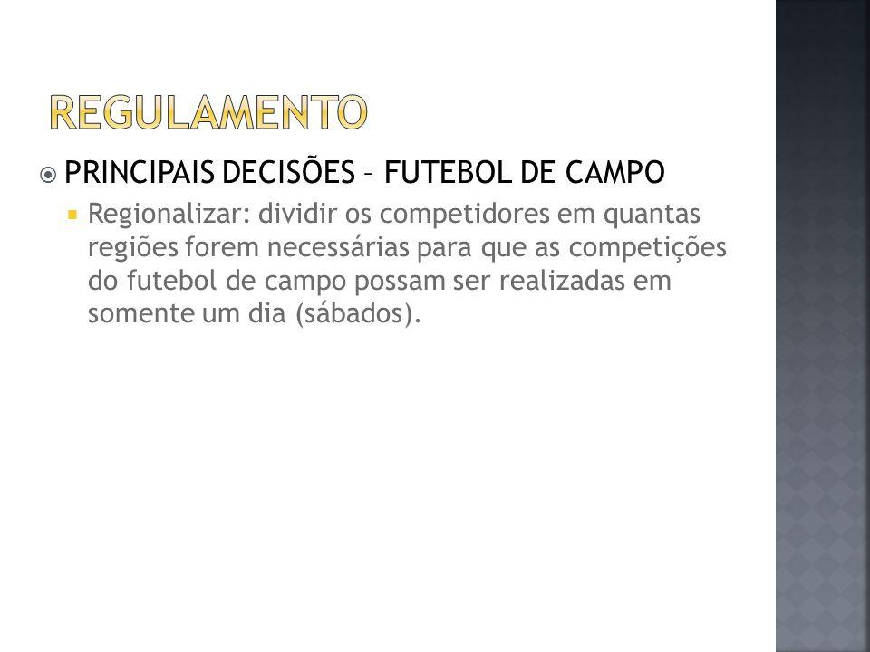  PRINCIPAIS DECISÕES – FUTEBOL DE CAMPO  Regionalizar: dividir os competidores em quantas regiões forem necessárias para que as competições do futeb