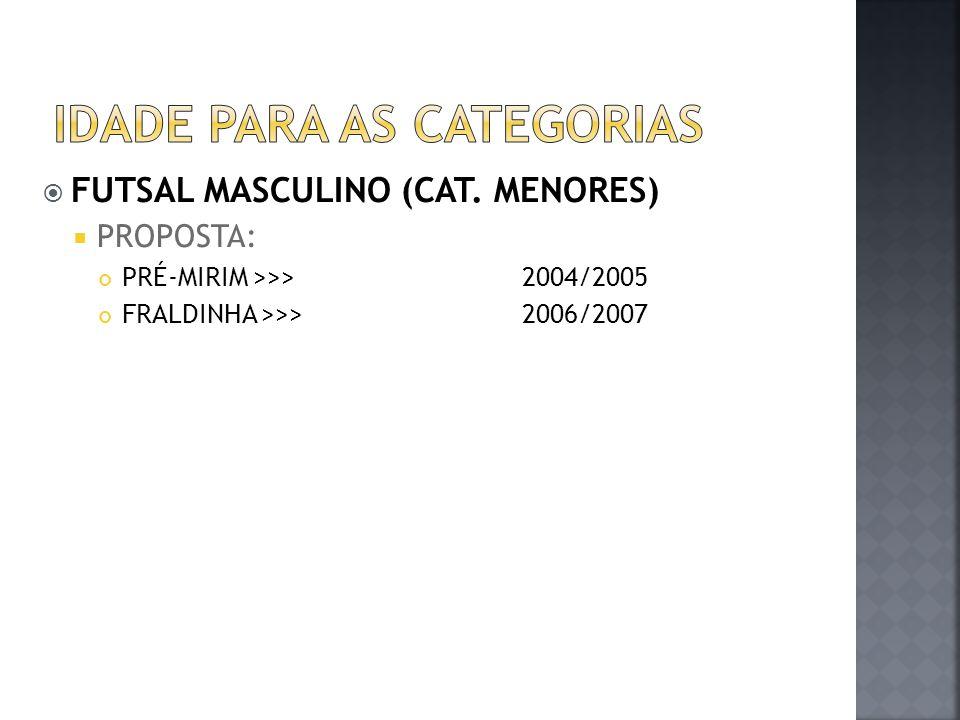  FUTSAL MASCULINO (CAT. MENORES)  PROPOSTA: PRÉ-MIRIM >>>2004/2005 FRALDINHA >>>2006/2007