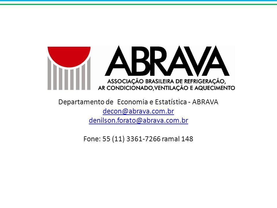 Departamento de Economia e Estatística - ABRAVA decon@abrava.com.br denilson.forato@abrava.com.br Fone: 55 (11) 3361-7266 ramal 148 decon@abrava.com.br denilson.forato@abrava.com.br