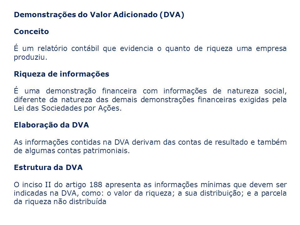 Demonstrações do Valor Adicionado (DVA) Conceito É um relatório contábil que evidencia o quanto de riqueza uma empresa produziu. Riqueza de informaçõe