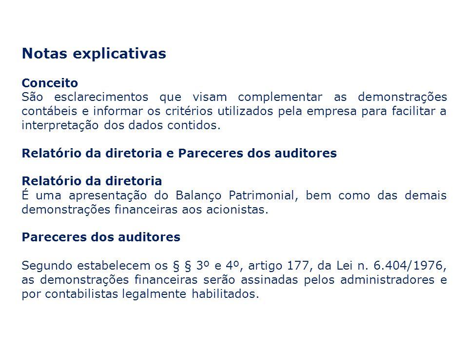 Notas explicativas Conceito São esclarecimentos que visam complementar as demonstrações contábeis e informar os critérios utilizados pela empresa para facilitar a interpretação dos dados contidos.