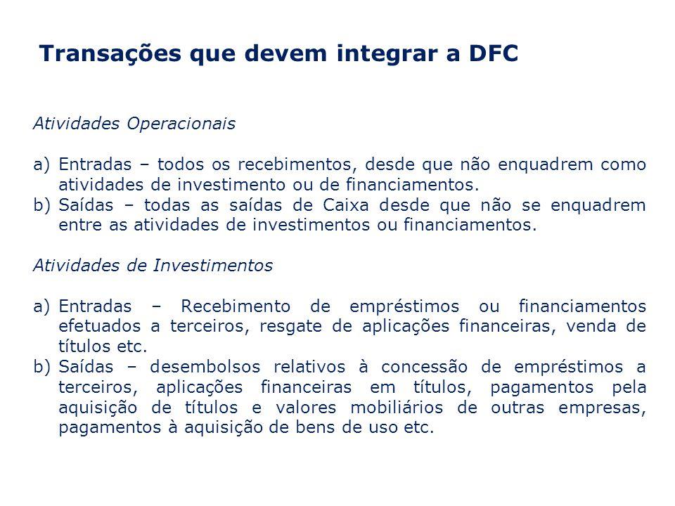Transações que devem integrar a DFC Atividades Operacionais a)Entradas – todos os recebimentos, desde que não enquadrem como atividades de investimento ou de financiamentos.