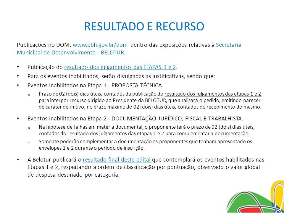RESULTADO E RECURSO Publicações no DOM: www.pbh.gov.br/dom dentro das exposições relativas à Secretaria Municipal de Desenvolvimento - BELOTUR. Public