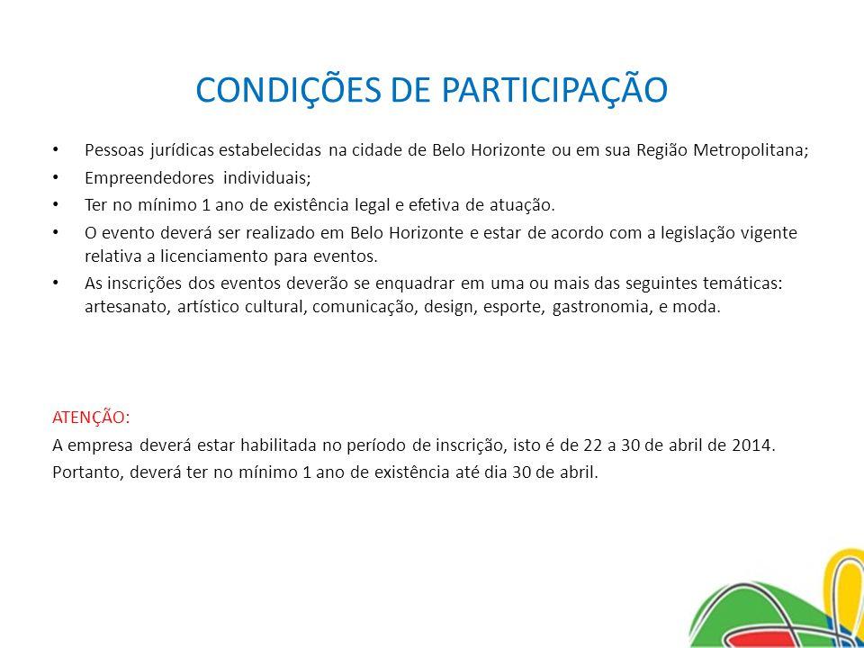 CONDIÇÕES DE PARTICIPAÇÃO Pessoas jurídicas estabelecidas na cidade de Belo Horizonte ou em sua Região Metropolitana; Empreendedores individuais; Ter