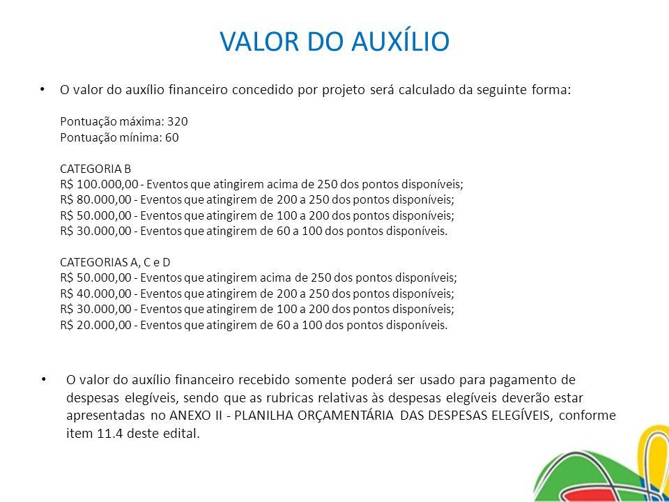 VALOR DO AUXÍLIO O valor do auxílio financeiro concedido por projeto será calculado da seguinte forma: Pontuação máxima: 320 Pontuação mínima: 60 CATE