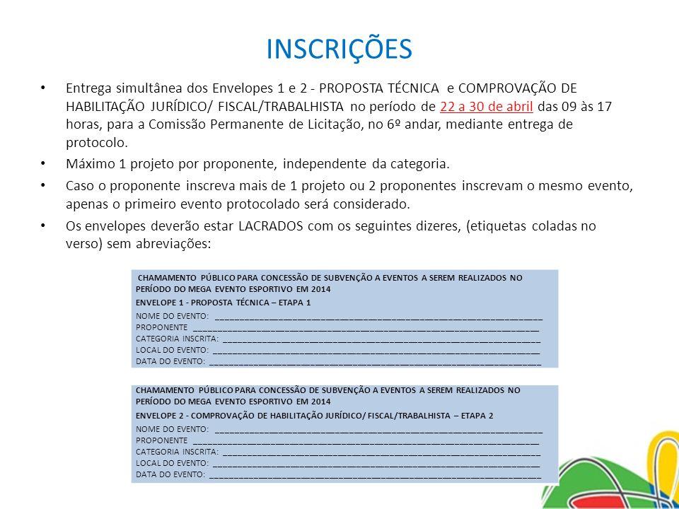INSCRIÇÕES Entrega simultânea dos Envelopes 1 e 2 - PROPOSTA TÉCNICA e COMPROVAÇÃO DE HABILITAÇÃO JURÍDICO/ FISCAL/TRABALHISTA no período de 22 a 30 d
