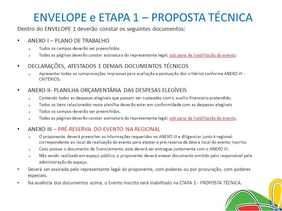 ENVELOPE e ETAPA 1 – PROPOSTA TÉCNICA Dentro do ENVELOPE 1 deverão constar os seguintes documentos: ANEXO I – PLANO DE TRABALHO o Todos os campos deve