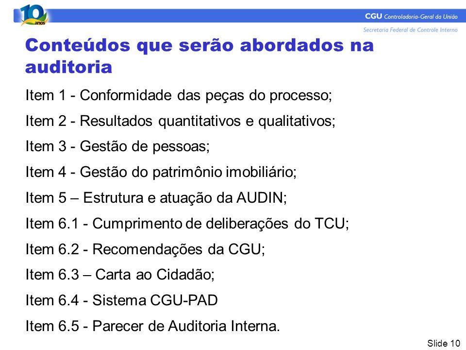 Slide 10 Conteúdos que serão abordados na auditoria Item 1 - Conformidade das peças do processo; Item 2 - Resultados quantitativos e qualitativos; Item 3 - Gestão de pessoas; Item 4 - Gestão do patrimônio imobiliário; Item 5 – Estrutura e atuação da AUDIN; Item 6.1 - Cumprimento de deliberações do TCU; Item 6.2 - Recomendações da CGU; Item 6.3 – Carta ao Cidadão; Item 6.4 - Sistema CGU-PAD Item 6.5 - Parecer de Auditoria Interna.