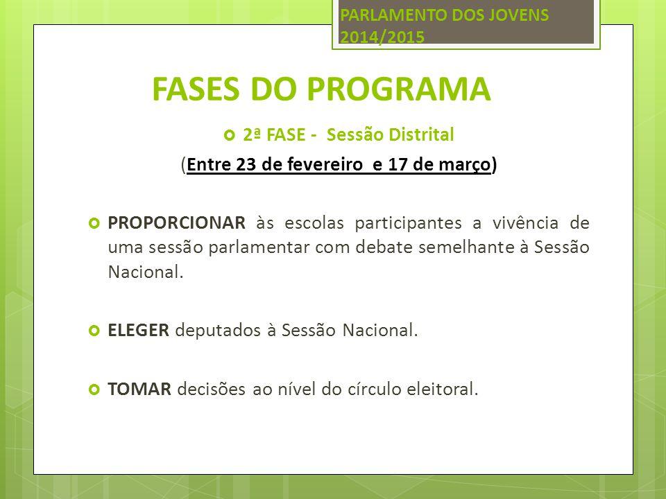 FASES DO PROGRAMA  2ª FASE - Sessão Distrital (Entre 23 de fevereiro e 17 de março)  PROPORCIONAR às escolas participantes a vivência de uma sessão parlamentar com debate semelhante à Sessão Nacional.