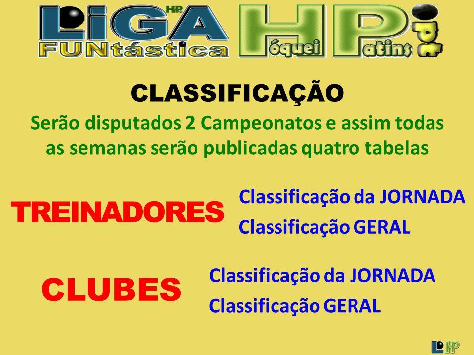 CLASSIFICAÇÃO Classificação da JORNADA CLUBES Classificação GERAL Serão disputados 2 Campeonatos e assim todas as semanas serão publicadas quatro tabelas Classificação da JORNADA Classificação GERAL TREINADORES